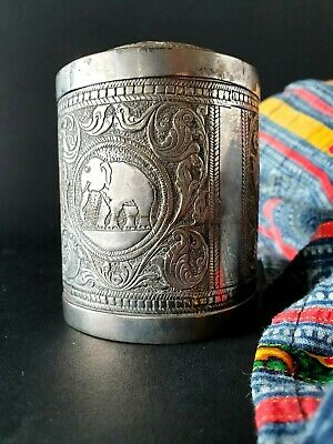 Old Silver-Plated Cigarette Tin with Elephants …beautiful collection / accent pi