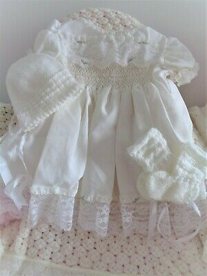 Beautiful Vintage/antique Baby Dress For Reborn Or Baby Plus Bonnet And Bootees