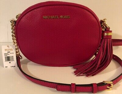 8b655ec4d4d5 Michael Kors Ginny Leather Crossbody Bag In Ultra Pink NWT Retail $198