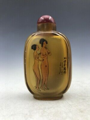 Chinese antique glass snuff bottle hand painting nude beauty pattern.   b7