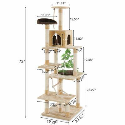 New Cat Tree Scratching Post Scratch Activity Centre Bed Toys Scratcher Brown