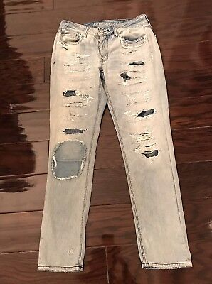 550a69c16fd American Eagle Outfitters Womens Size 2 Tom Girl Ripped Jeans W/ Patches In  Rips