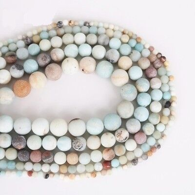 4/6/8/10mm Lot Natural Frosted Stone Loose Bead Bracelet Jewelry DIY Making Gift