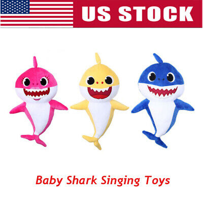 US Baby Kids Plush Shark Singing English Song Toy Cartoon Music Doll Musical Toy