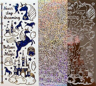 UNICORNS CASTLES Holographic Mirror PEEL OFF STICKERS Clouds Magic Dreaming Star