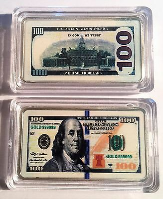 New $100.00 USA New Note 1 oz Ingot 999 Silver Plated/Colour Printed in Capsule