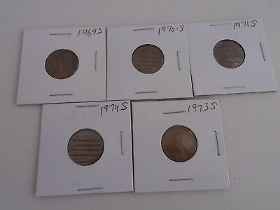 A Set Of 1969S,1970S, 1971S, 1973S, 1974S Lincoln Cents +Steel Cent & Buffalo NI