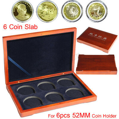 AU Oak Slab Coin Wood Case Display Box Wooden Storage Holders for 6X 52mm Coins