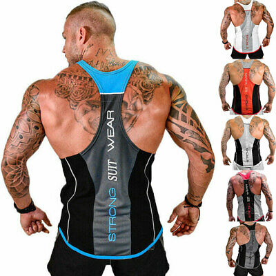 Gym Cool Men Muscle Sleeveless Shirt Tank Top Bodybuilding Sport Fitness Vest Uk