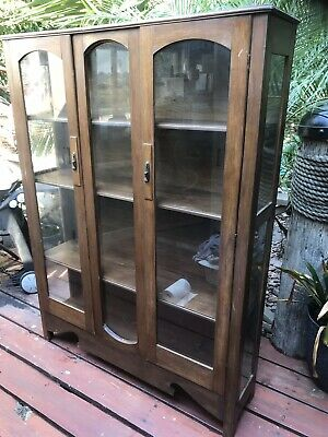 Vintage Glass Display Cabinet Timber Showcase Collectables Case Collection