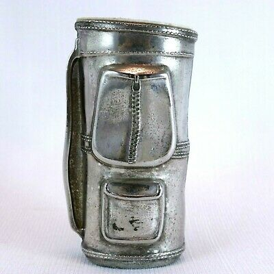 Silver Plated Ink Well Golf Bag Paper Weight Ornament Grenadier ENGLAND Curio