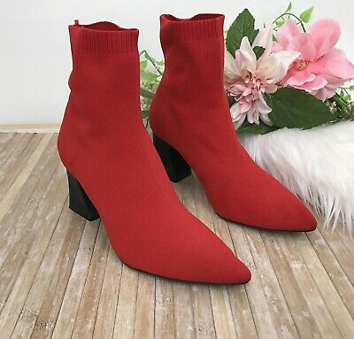 d2a1ddb6797 Zara Women s Red Sock Ankle Boots Booties EU 38 US 7.5 Block Heel Stretch