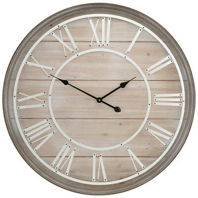 Large Ø 80 cm Wooden Wall Clock Decorative Roman Numerals 12 Hour Display 2 Tips