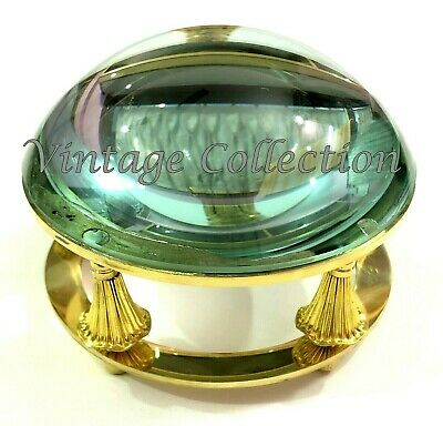 "4"" Antique Brass Dome Lens Magnifying Glass Vintage Table Decor Paper Weight"