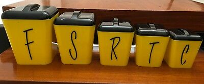 Retro Vintage Gay Ware Kitchen Nesting Canisters Set of 5 Yellow with Black Lids