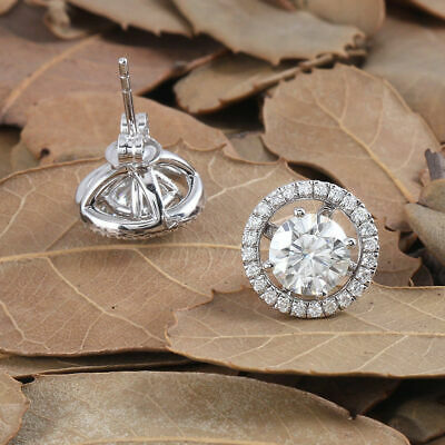 2.30 Ct Round Cut Diamond Halo Stud Earrings For Ladies 14K White Gold Finish
