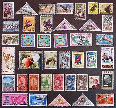 Africa, Rwanda, Mali, Seychelles Etc Stamp Collection 40 Stamps Unhinged