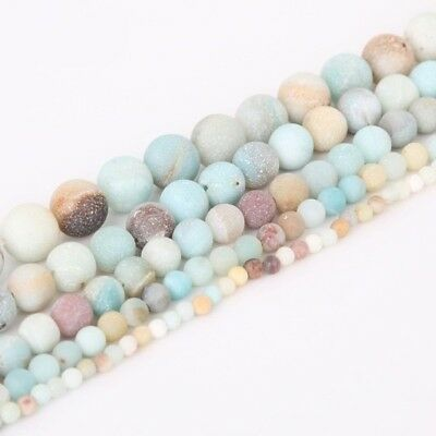 4/6/8/10mm Lot Natural Frosted Stone Loose Bead Bracelet Jewelry Manual DIY Hot