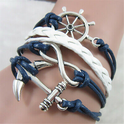 Men Women Fashion Handmade Infinity Love Anchor Leather Chain Bracelet Jewelry