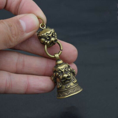 China old brass Carved snake Key buckle small statue / Small bell.