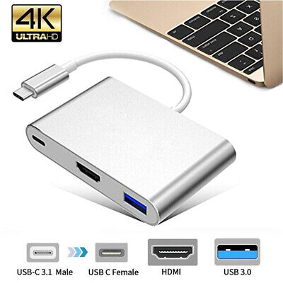 Type C to USB-C 4K HDMI USB 3.0 3 in 1 Hub Adapter Cable For Apple Macbook Pro