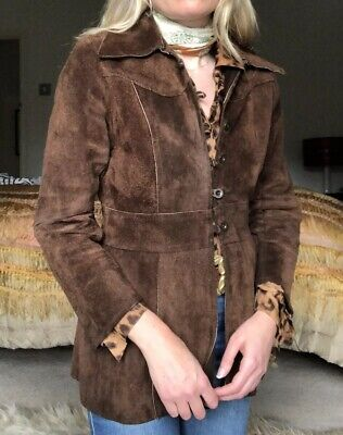 Vintage 1960s Brown Suede Penny Lane Mod Jacket