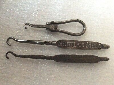 3 Antique Advertising / Folding Bootlace Button Hooks C1920 Gorgeous!