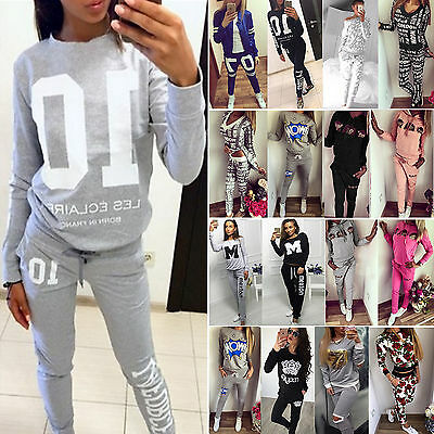 Womens Tracksuit Hoodies Sweatshirt + Jogging Pants 2Pcs Set Sport Fitness Suits
