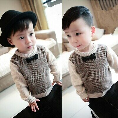 Toddler Baby Boys Girls Soft Clothes Pullover Sweater Long Sleeve Tops Blouse AU