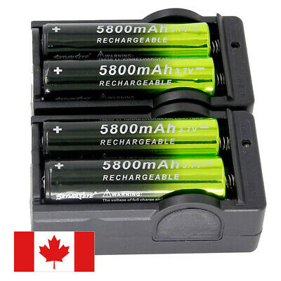 4X 18650 5800mAh Rechargeable Battery Li-ion 3.7V Batteries + 2X Smart Chargers