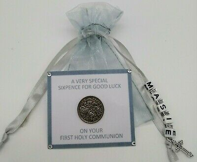 Personalised First Holy Communion Lucky Sixpence **Keepsake Gift **3 Colours**