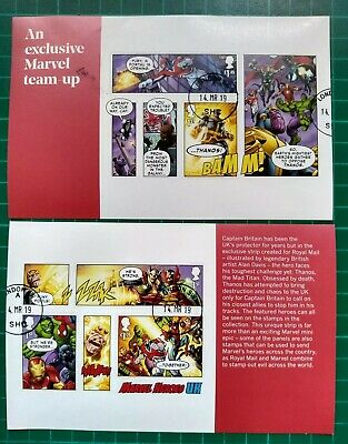 2019 MARVEL HEROES UK  MINIATURE SHEET Ex-PSB over 2 panes  USED