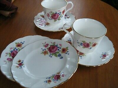 English china- Royal Victoria-Summer Rose pattern-2 cups,2 saucers & 2 plates