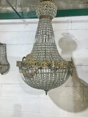 Large French Style Glass Crystal & Brass Basket Chandelier With Prism Detail