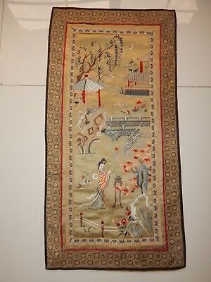 Antique Chinese Hand Embroidery Silk Wall Hanging Panel 66X33cm (X566)
