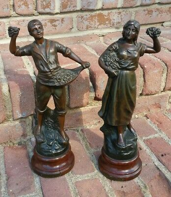Antique Art Nouveau French Cast Metal Spelter Figure Statue Bataille De Fleurs