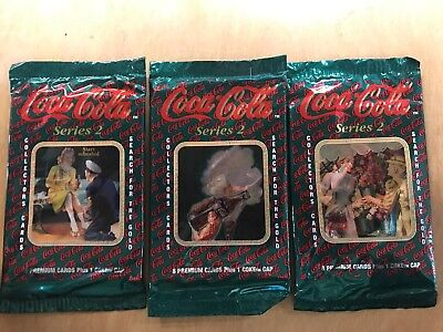 3- Coca-Cola Collector Cards Pack Series 2. (8 Cards And 1 Coke Cap) Per Pack