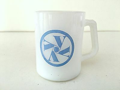 VTG Federal Glass ADVERTISING Coffee Mug MILK GLASS Cup FIRE KING Style Retro Ad