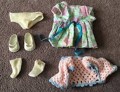 Vintage 1940s Or 1950s Large Size Baby Doll Clothes Dress Shoes Underwear