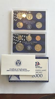 2000 United States Mint Proof Set Original Box & COA 10 Piece
