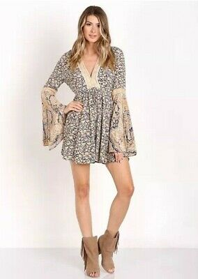 Free People Once Upon a SummerTime V-Neck Romper Small Festival Boho