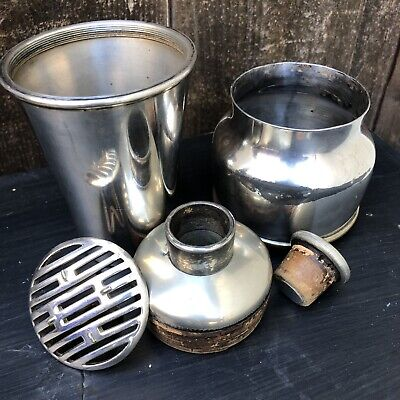 Vintage Meriden S.P. Co. Silver Plate Co. 5 Piece Travel cocktail shaker Mixer