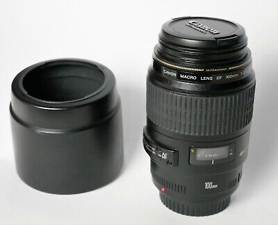 Objectif CANON EF 100 mm f/2.8 Macro USM + pare soleil, comme NEUF lens perfect