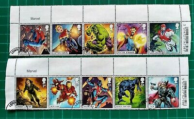 2019 Set of 10 Marvel character Stamps USED
