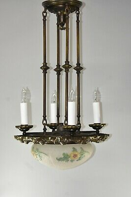 Antique Brass Six Socket Chandelier Frosted Textured Glass Shade Hand Painted