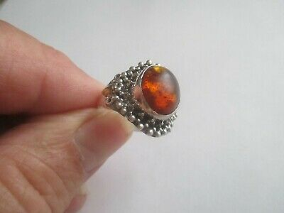 Amber(oval) Ring..set in STERLING SILVER..with Balls..Nice Size..New..Poland