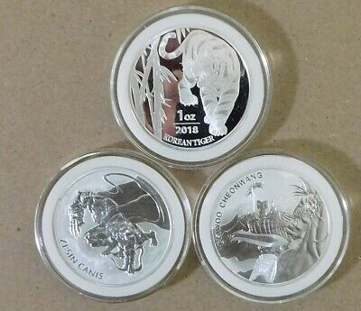 2018 South Korea Mint - Lot of 3 -  1 oz .999 Silver - Tiger, ZI:SIN  & Chiwoo