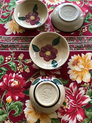 Set 4 WATT Pottery Bowls Cereal Berry plate Rio Rose Pansy U.S.A. Ohio LN