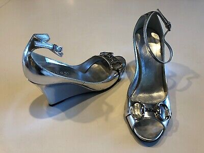 cb10c11dfe88e  995 GUCCI SHOES Silver Leather Engel Crystal Wedge Heel Sandals It ...