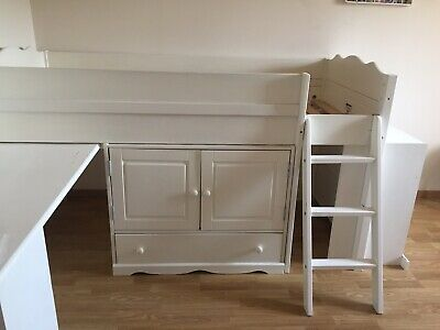 Lit Combine Bureau Commode Enfant Blanc 90x190 Authentic